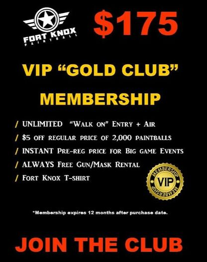 VIP membership fort knox paintball